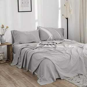 BISELINA Linen Sheet French Flax Flat Sheet 55% Euro Linen 45% Cotton Basic Style Solid Color Soft Breathable Farmhouse Top Sheet (Twin, Grey)