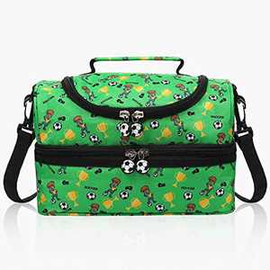 Anpro 7L Lunch Bag Children-Insulated Lunch Bag for Kids Double Decker with Detachable Strap 25 * 17 * 16.5cm Green Football