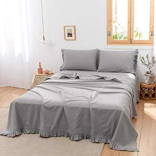 BISELINA Linen Sheet French Flax Flat Sheet with Pleated Ruffles 55% Euro Linen 45% Cotton Solid Color Soft Breathable Farmhouse Top Sheet (Frill-Full, Grey)