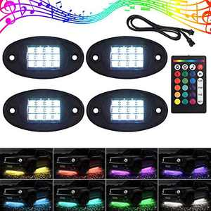Justech 4 Pods RGB LED Rock Light Kits 48LED Multicolor Underglow Neon Light Kit with Extension Cord and Double Wireless RF Controllers for Truck ATV SUV Car Boat Motorcycle
