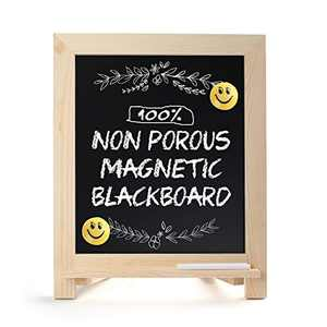 "Rustic Chalkboard Sign, 15""x12"" Standing Wood Framed Blackboard with Chalk Marker and Magnets, Magnetic Chalk Board Easel for Menu Kitchen Wedding Home Décor, Tabletop or Wall Hanging Display"