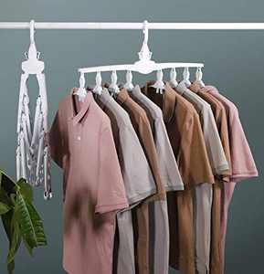 360° Swivel Hook Coat Hangers, Folding Anti-Skid Hanger with Space Saving, for Coat, Jacket, Shirt, Dress, Trousers