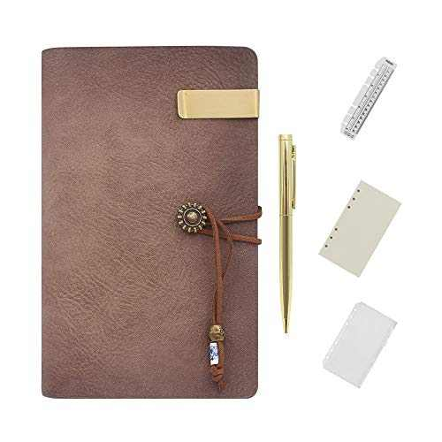 Wonderpool Leather Journal Lined Paper Notebook with Pen - Refillable 6 Ring Binder Writing Diary Vintage Cover Ruled Notepads for Office Travel Work and Plan Agenda (A6, Sorrel)