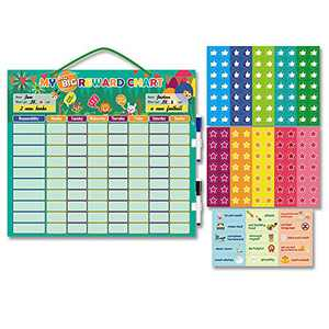 Magnetic Reward Behavior Chore Chart Schedule for Kids at Home School - Strong Magnetic Broad Calendar for 2 Toddlers/Teens - Train and Teach Responsibility Calendar with Dry Erase Markers & Stars