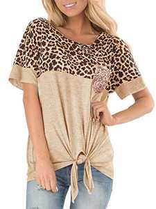 sullcom Women's Short Sleeve Leopard Print Top with Front Tie and Sequin Chest Pocket Casual Blouses Tops T Shirts Khaki