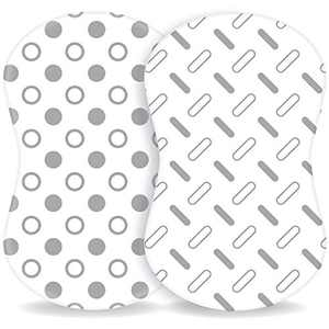 TANSY PANDA Halo Bassinet Fitted Sheets Pack of 2 - Ultra Soft 100% Organic Cotton, Breathable, Universal Bassinet Mattress Sheets for Baby Boy and Girl, White and Grey