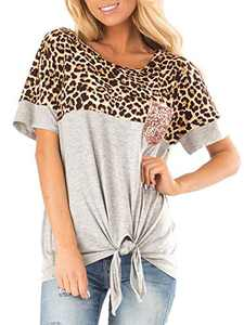 sullcom Women's Short Sleeve Leopard Print Top with Front Tie and Sequin Chest Pocket Casual Blouses Tops T Shirts Grey