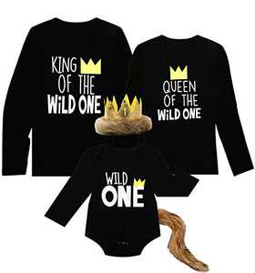 Shalofer Men Family Mathching T-Shirt King of The Wild One Long Sleeves Top (Daddy-Black,L)