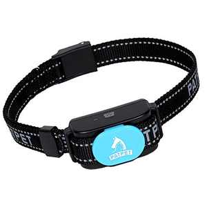 PATPET Dog Bark Collar Safe Shock Rechargeable Anti Stop Barking Collar Without Remote for Small to Large Dogs, Smart Chip Adjustable Dog Training Collar, No Pain - Safe, Anti-Bark Device (Blue)