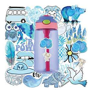 VSCO Girls Stickers Hydro Flask Sticker Waterproof Skateboard Stickers for Water Bottle DIY Xmas Decoration Laptop Decals Gift Card Luggage Car Bicycle Music Film Guitar Travel Case Blue 50Pack
