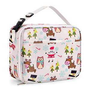 Bagmine Kids Toddler Lunch Bag, Insulated Lunch Box for Girls, Boys & Adults, Moisture Resistant Reusable Lunchbox with Multiple Patterns & Card Slot for School, Picnic, Travel or Work (Santa)
