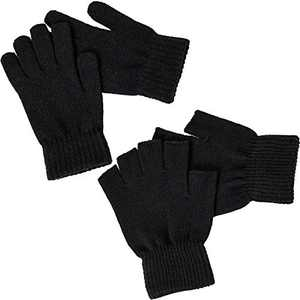 2 Pairs Black Winter Knit Mittens Warm Stretchy Fingerless Gloves, Thick Thermal Soft Comfortable Mittens for Women Men
