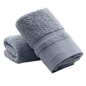 YAMAMA Hand Towels Set of 2, 100% Cotton Super Soft Highly Absorbent Face Towels for Bathroom 13x 30 Inch (Ink Grey)