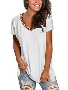 Floral Find Women's Leopard Print Short Sleeve T Shirts Summer Casual V Neck Tops White