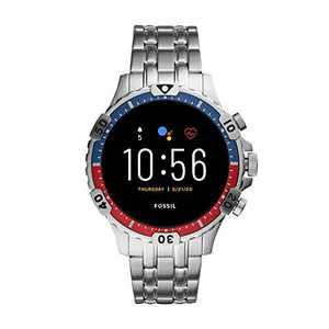 Fossil Unisex 46MM Gen 5 Garrett HR Heart Rate Stainless Steel Touchscreen Smart Watch, Color: Silver (Model: FTW4040)