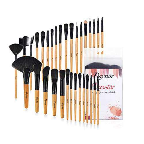 Make Up Brushes, Professional Burlywood Makeup Brush Kits Comfortable Fiber Hair 32 Piece Eye Shadow Eyebrow Kabuki Foundation Brush Rolling Bag Included