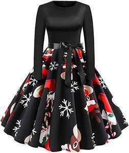 Womens Dress Long Sleeve Xmas EIK Tree Printed Dress A-line Vintage Cocktail Holiday Party Dress Black