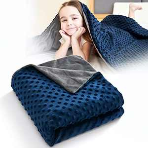 """CO-Z Duvet Cover for Weighted Blankets Plush Minky Dot Fabric Two-Way Hidden YKK Zipper Closure Removable & Machine Washable Fits 36"""" x 48"""" Weighted Blankets Grey/Navy Blue"""