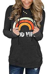 KISSMODA Womens Good Vibes Rainbow Raglan Tunic Sweatshirt Long Sleeve Plus Size Tops