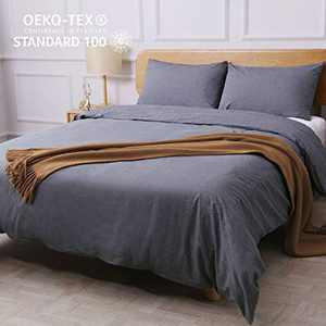 CO-Z 100% Washed Cotton Duvet Cover 3 Pieces Bedding Sets Solid Color Grey King/Cal King Size (104x90 inches)- Modern Simple Style Ultra Soft Breathable Comforter Cover with Zipper Closure