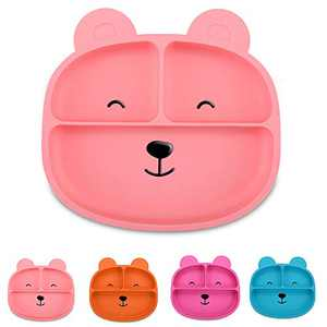 Leatchliving Silicone Grip Dish, Suction Plate, Divided Plate, Baby Toddler Plate, BPA Free, Microwave Dishwasher Safe-Bear Pink
