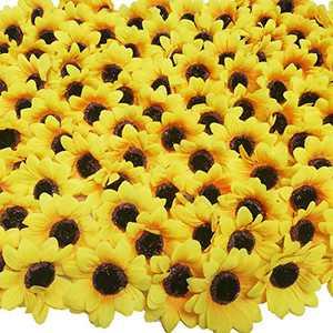 """Beferr 100pcs Artificial Fabric Sunflower Heads 2.8"""" Silk Yellow Flowers for Home Garden Craft DIY Art Decor Wedding Party"""