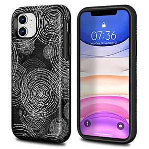 HQGC Rubber case for iPhone 11 Pro Max 6.5 inch(2019), Rubber Full Body Protection Shockproof Cover Case Drop Protection Case, Geometric Black White Coil