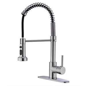 EKRTE Kitchen Faucet , Brushed Nickel Kitchen Faucet with Pull Down Sprayer, Single Handle Stainless Steel Pull Out Kitchen Faucet, Commercial High Arc 1 or 3 Hole Sink Faucets with Deck Plate