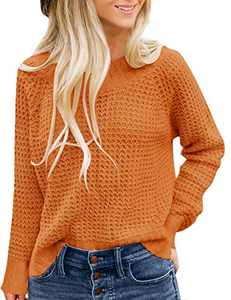 TECREW Women's Waffle Knit Pullover Sweaters Long Sleeve Casual Jumper Tops
