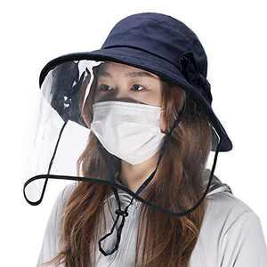 Jeff & Aimy Womens Sun Protection Bucket Hat with Detachable Face Shield Anti Saliva Fog Navy Sun Hat