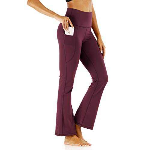 Bovodo Women's Bootcut Yoga Pants with Side Pockets, High Waist Bootleg Dress Pants for Work & Casual (Wine Red, Small)