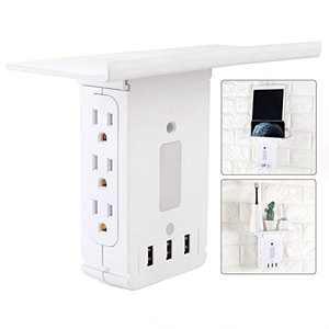 Power Strip Shelf, 9 Port Surge Protector Wall Outlet, 6 Electrical Outlet Extenders 3 USB Ports 3.4A with Power Switch, with Removable Built-In Shelf, FCC Listed, White