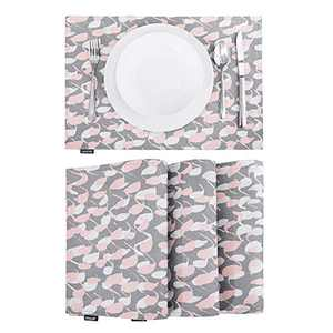 Deconovo Double-Faced Faux Linen Print Place Mats Loop Pattern Place-mats Water Resistant Table Mats for Dining Table Grey 12x18 Inch Set of 4
