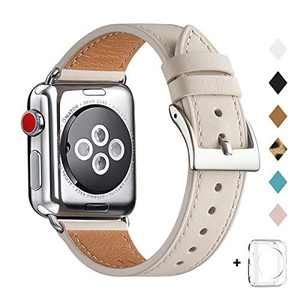 Bestig Band Compatible for Apple Watch 38mm 40mm 42mm 44mm, Genuine Leather Replacement Strap for iWatch Series 6 SE 5 4 3 2 1, Sports & Edition (Ivory White Band+Silver Adapter, 42mm 44mm)