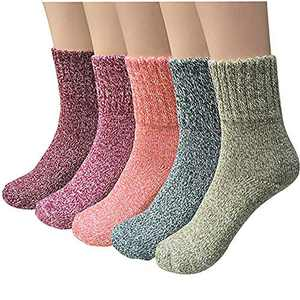 Pack of 5 Women Warm Winter Wool Socks Cozy Soft Vintage Knit Socks Holiday Boot Socks (Pure Color)