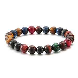 Turandoss Semi Precious Bracelet for Women, Natural Beads Bracelets 7 inch Stretch Gems Stones Healing Crystal Beads Bracelet for Women Anxiety Bracelet