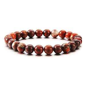 Mens Mahogany Obsidian Gemstone Bracelet, 8mm Natural Stone Beads Bracelet Men Women Stress Relief Yoga Beads Semi-Precious Gemstone Bracelet Bangle for Women