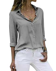 Yidarton Women's Long Sleeve V Neck Chiffon Blouses Tops Button Down Business Shirts(Gray,M)