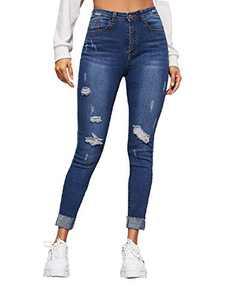 WDIRARA Women's Casual High Waist Ripped Skinny Cropped Denim Jeans Blue S