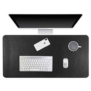 """Gogloo Multifunctional Office Desk Pad, Dual Sided PU Leather Mouse Pad, Thin and Waterproof Desk Blotter Protector, Desk Writing Mat for Office/Home (Black, 23.6"""" x 12"""")"""
