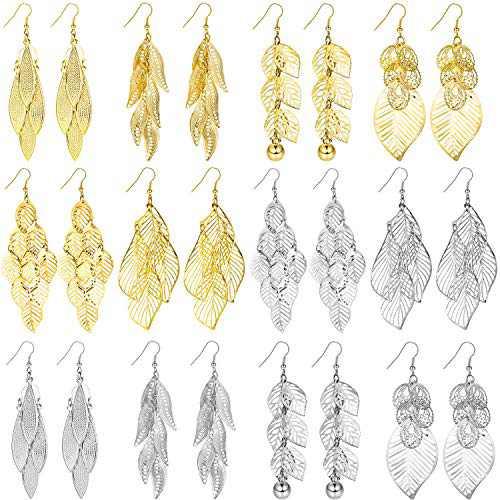 12 Pairs Bohemia Leaf Drop Dangle Earrings Golden and Silvery Vintage Long Earrings for Women