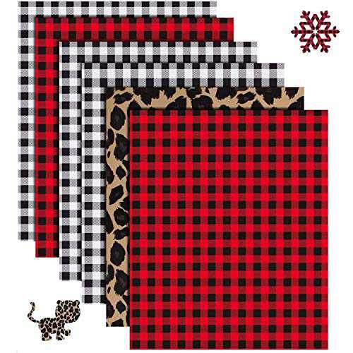 "YRYM HT Buffalo Plaid Heat Transfer Vinyl - 6 Sheets 12"" x 10""Red Black Buffalo Check Heat Transfer Vinyl-3 Assorted Colors for Iron on Fabrics T-Shirts(Buffalo Plaid,Black Plaid,Leopard Print"