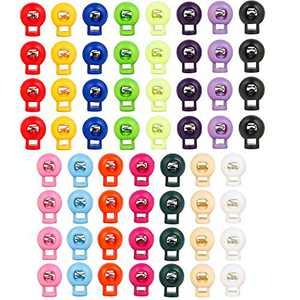 HUIHUIBAO 60 Pieces Plastic Cord Locks, Single Hole End Spring Toggle Stopper Slider for Shoelace Replacement, Backpacks, Craft Supplies, 15 Colors