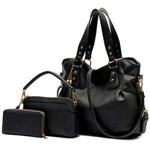 Purse and Wallet set for Women Large Hobo Bags Female Fashion Tote Shoulder Bags Crossbody Wallets Satchel Purse Set 3pcs Black