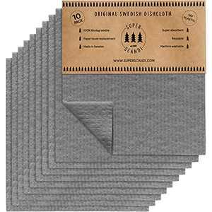 SUPERSCANDI Grey 10 Pack Swedish Dishcloths Reusable Compostable Towels Made in Sweden Cellulose Sponge Dish Cloths for Kitchen