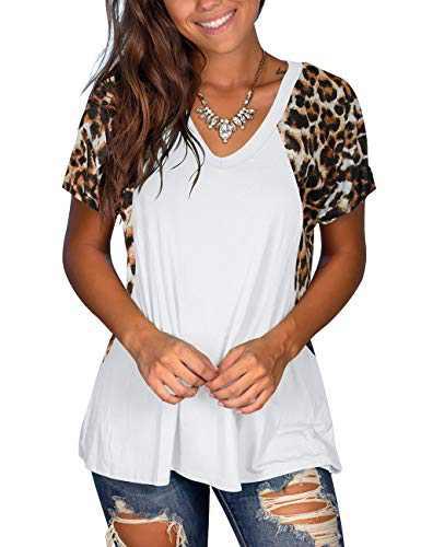 Women's Leopard Short Sleeve V Neck T-Shirt Top Casual Summer Tee XXL