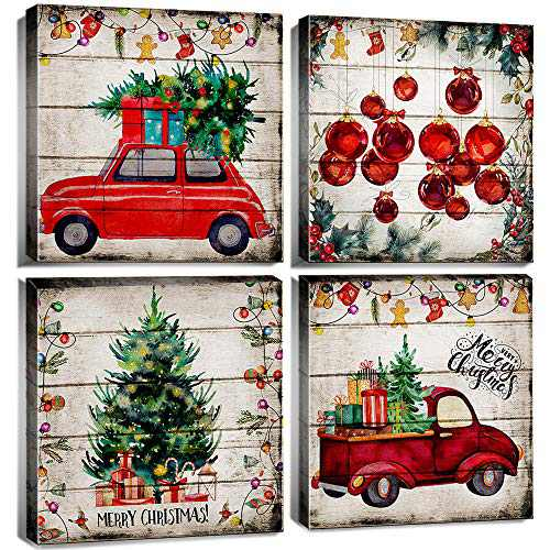 Merry Christmas Wall Art Decor Red Truck Vintage Car Prints Painting 12 x 12 Inch Wood Grain X'mas Balls New Year Watercolor Poster Pictures for Living Room Decoration Kids Nursery set of 4 Panels