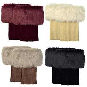 Marrywindix 4 Packs Women Winter Faux Fur Boot Cuff Knitting Leg Warmers Short