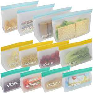 SKQUE 12 Pack Extra Thick Reusable Storage Bags - Leakproof Seal Food Grade PEVA Sandwich Bags Kids Snacks, Fruit, Travel Storage, BPA Free, Freezer Safe (4 Small, 4 Large, 4 Medium)