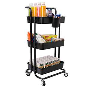 JAKAGO 3-Tier Rolling Utility Cart Storage Shelf Rack with Wheels and Mesh Baskets Organizer Cart Multifunction Rolling Storage Trolley Service Cart for Bathroom, Kitchen, Office, Laundry Room (Black)